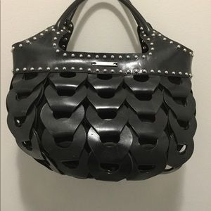 Michael Kors collection black leather w silver